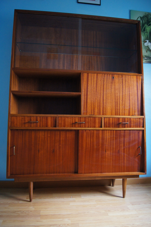 Librer a vintage de los a os 60 formas trapezoidales - Mueble anos 50 ...
